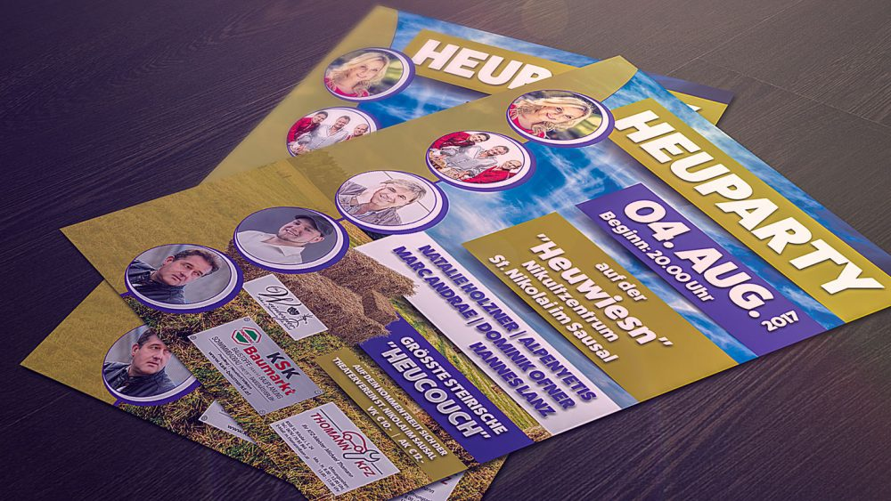 Zwei Heuparty Flyer 2017