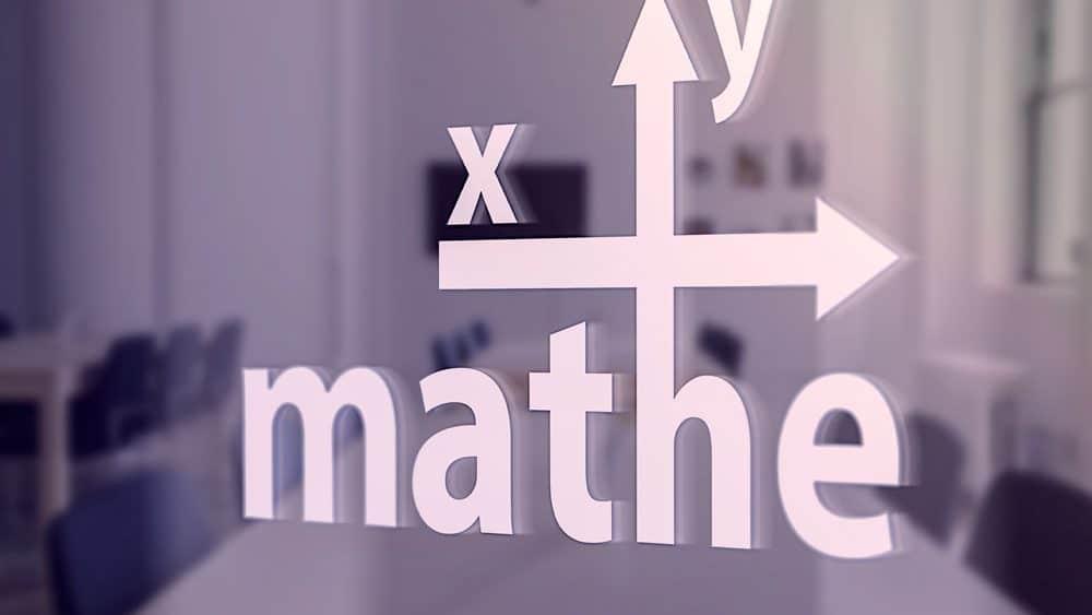 Logo Mathe xy auf einer Glasscheibe