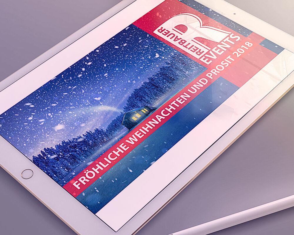 Tablett mit einer Grafik der Firma Reitbauer Events