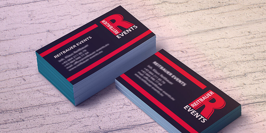 Visitenkarten der Firma Reitbauer Events