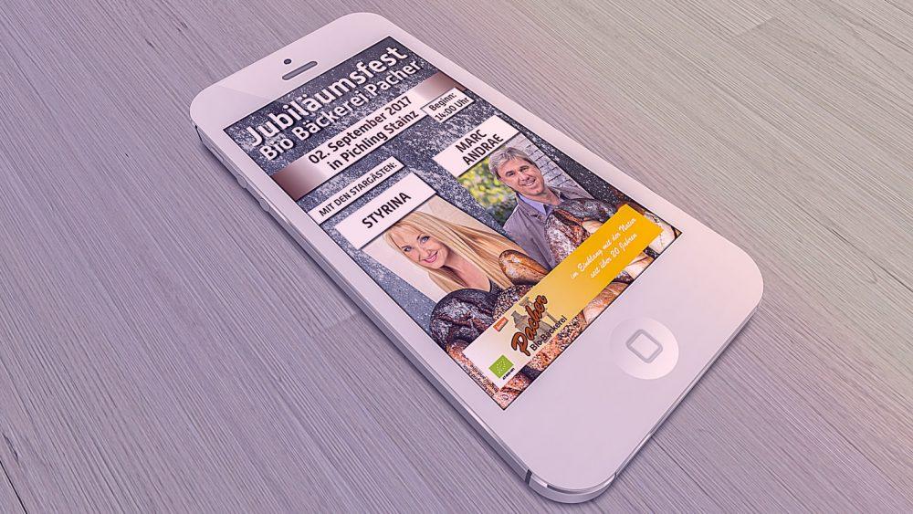 Smartphone mit Jubiläumsfest-Grafik Firma Pacher