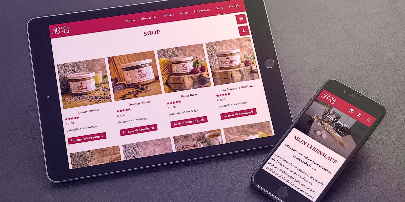 Tablett und Smartphone mit Mobile First Website von Backen mit Herz