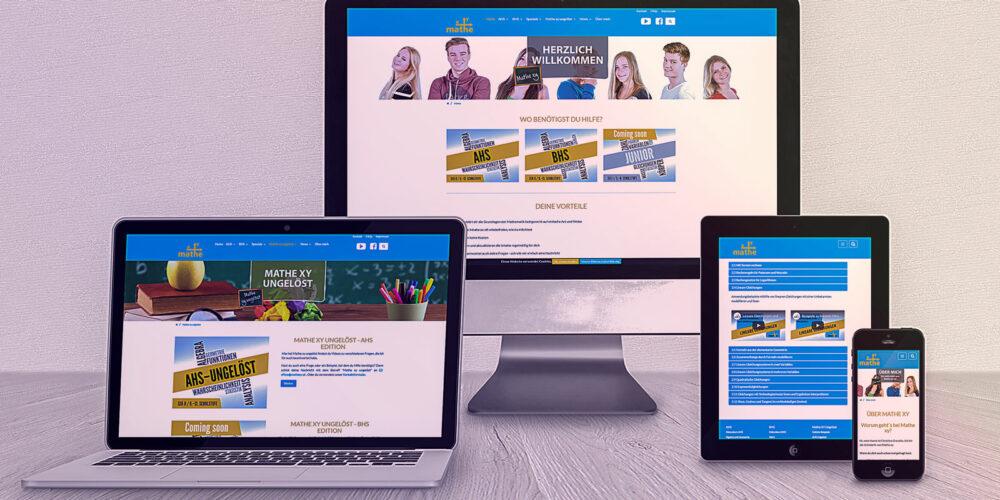Website Mathe xy auf PC-Bildschirm, Laptop, Tablett und Smartphone