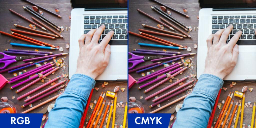 Gegenüberstellung Farbraum CMYK zu RGB