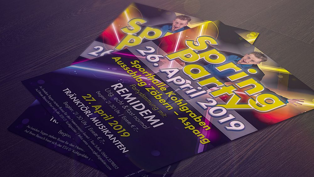 Flyer Springparty ESV d´Kohlgrabler