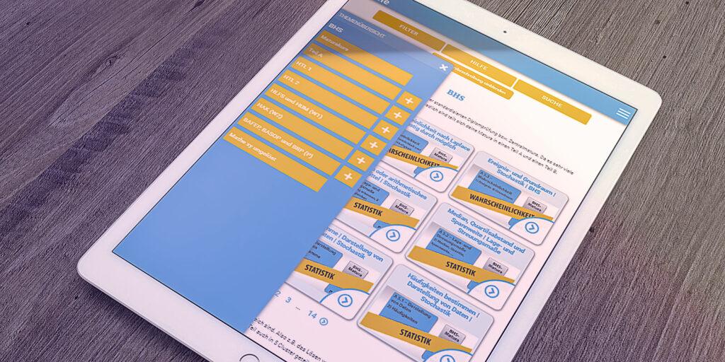 Mathe xy Website auf einem Tablett