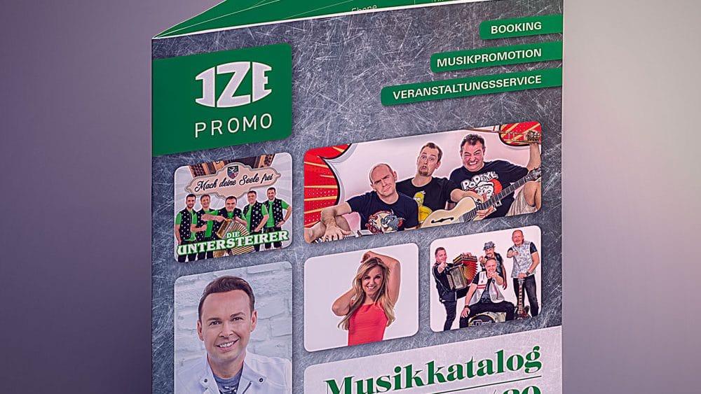 IZE-Promo Katalog aufgestellt, Titelseite, auf grauem Hintergrund