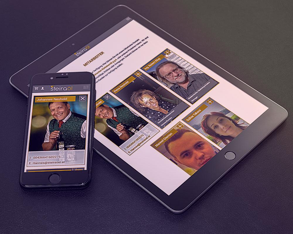 Steiraöl Website auf einem Tablett und Smartphone