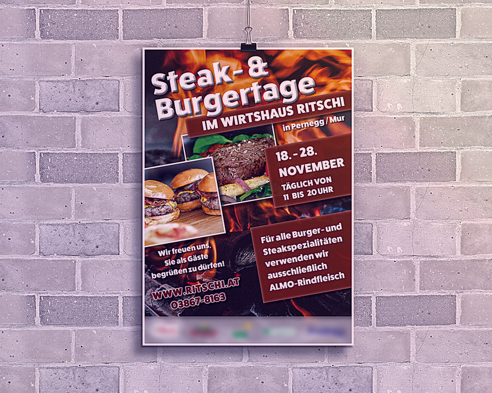Plakat Gasthaus Ritschi Steak- & Burgertage