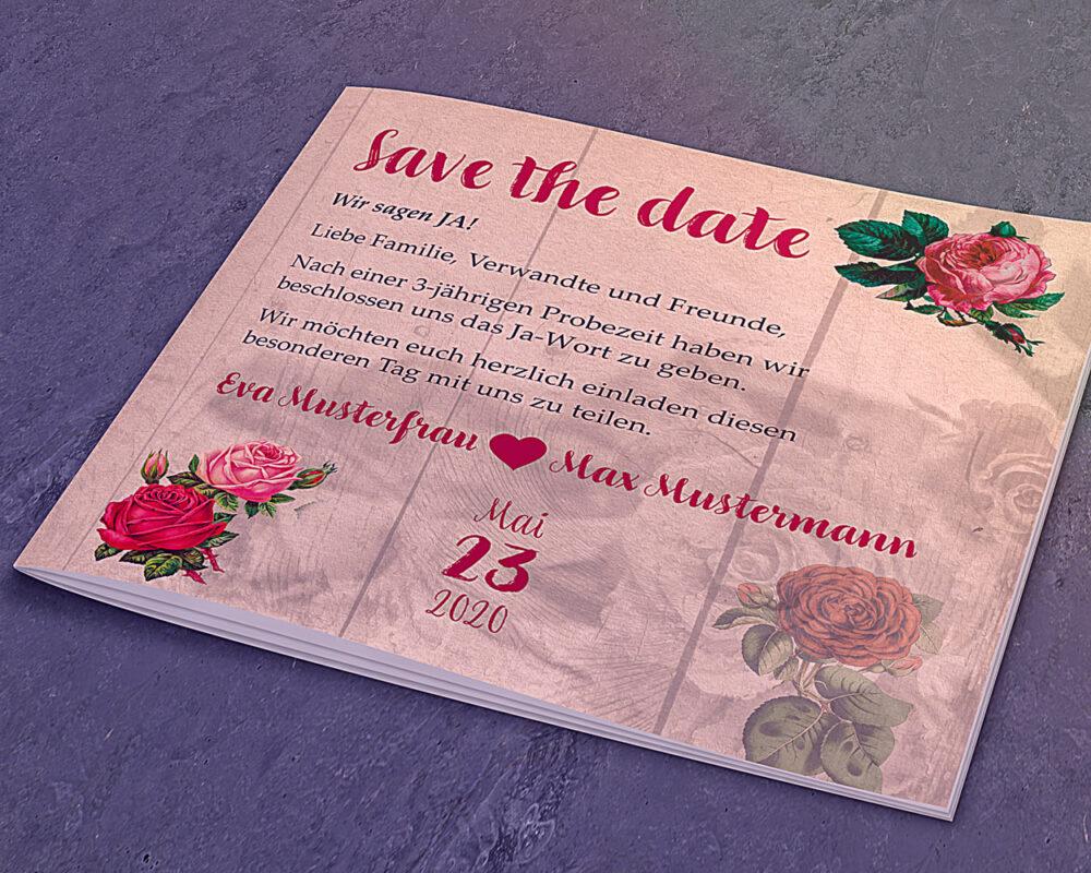 Hochzeitseinladung Quadratisch vorne