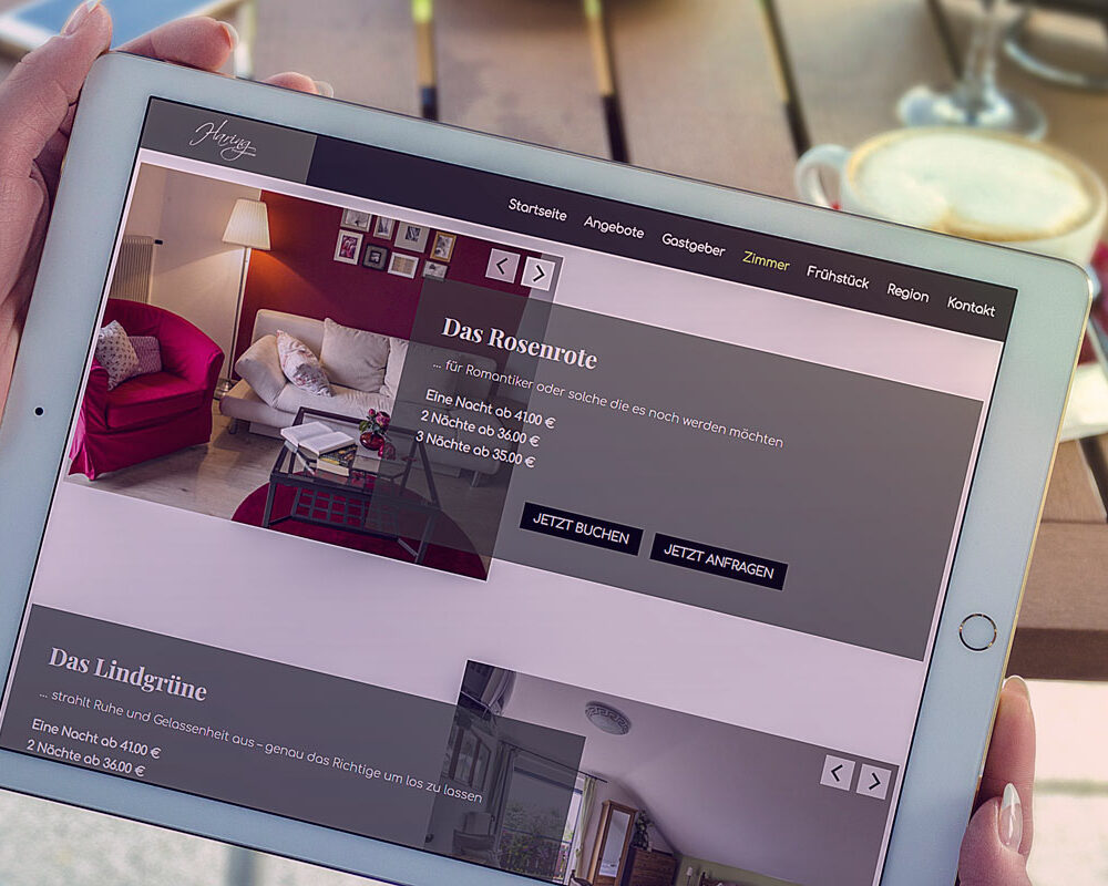 Mockup Webseite Privatzimmer Haring - Tablett