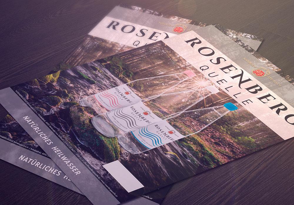 Plakate Rosenbergquelle auf einem Tisch