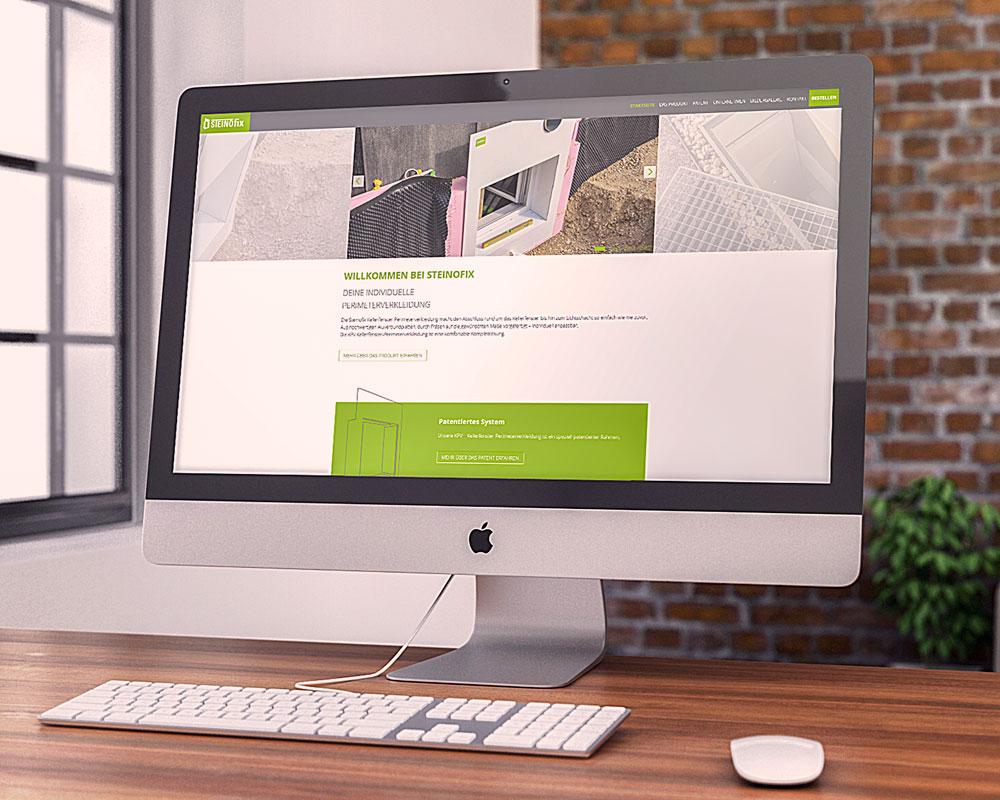 Webseite Steinofix auf einem Bildschirm