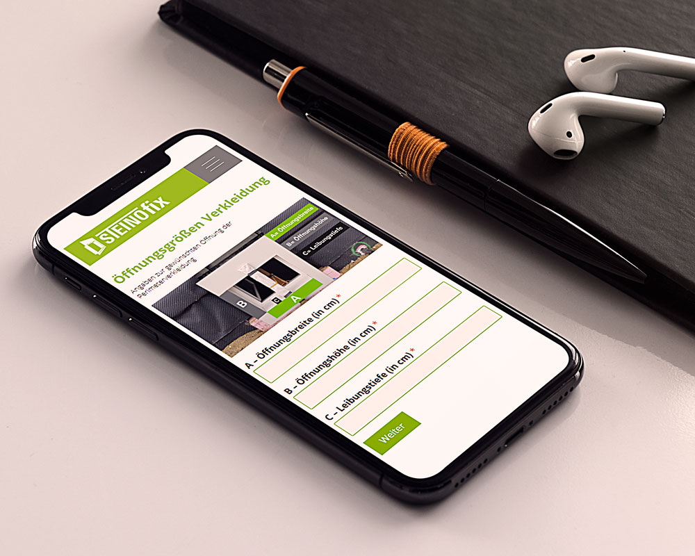 Webseite Steinofix auf einem Smartphone