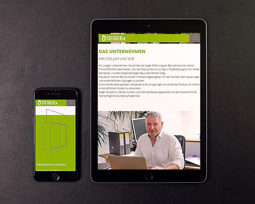 Webseite Steinofix auf einem Tablett