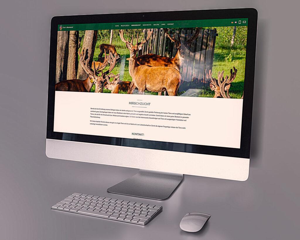 Gut Jägerhof Mockup Webseite – Desktop