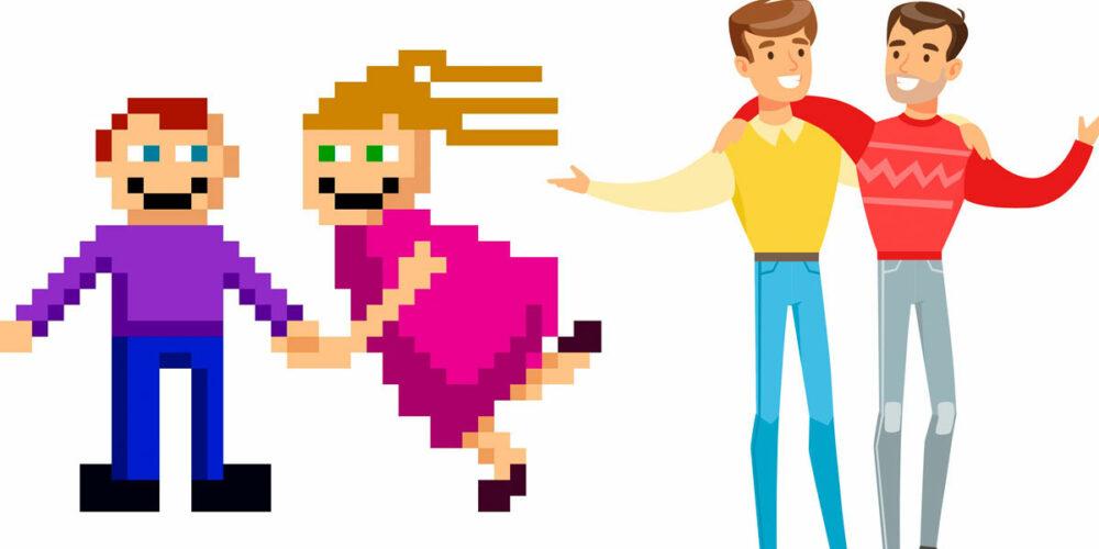 Pixel vs. Vektor: Links zwei Personen als Pixel, rechts zwei Personen als Vektor