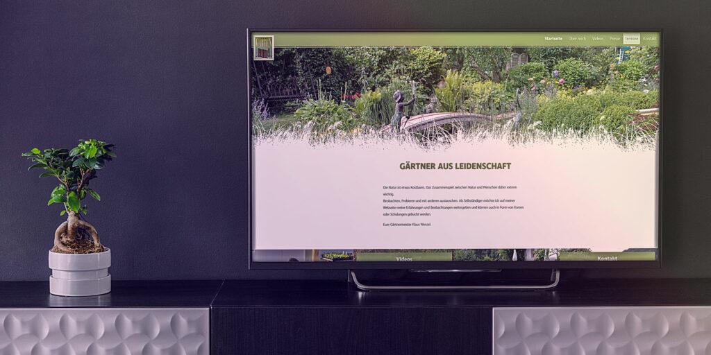 Klaus Wenzel-Zum Garten Webseite - Mockup auf Desktop Bildschirm