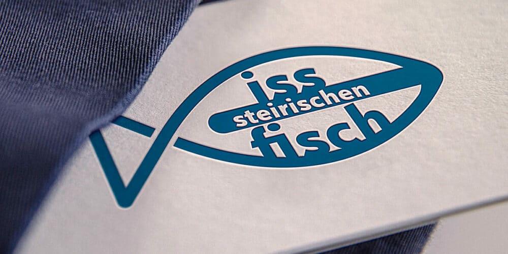 Iss Fisch Logo auf einer Visitenkarte
