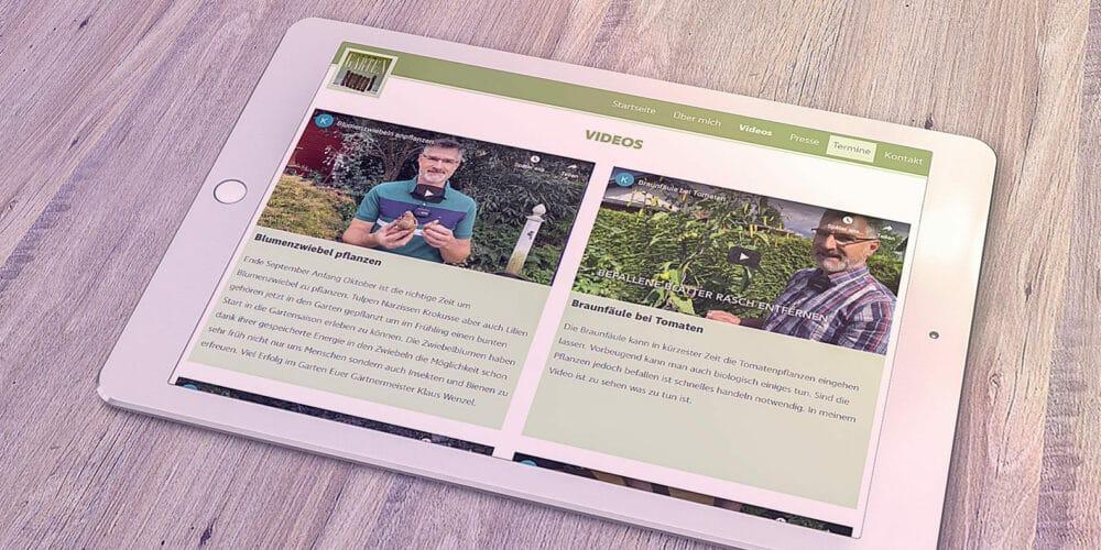 Klaus Wenzel-Zum Garten Webseite - Mockup auf Tablett