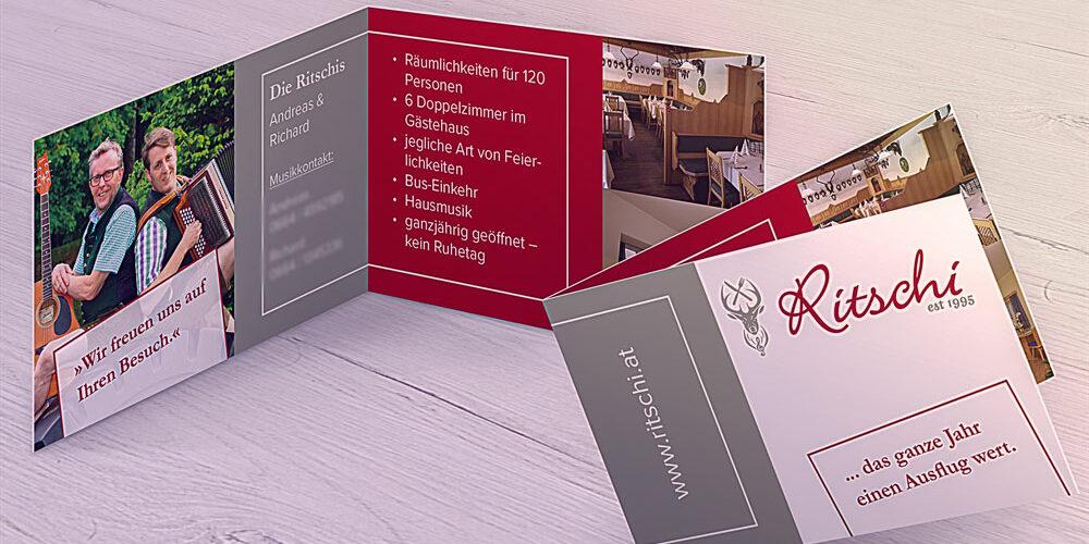 Printdesign: Klappvisitenkarten Gasthaus Ritschi