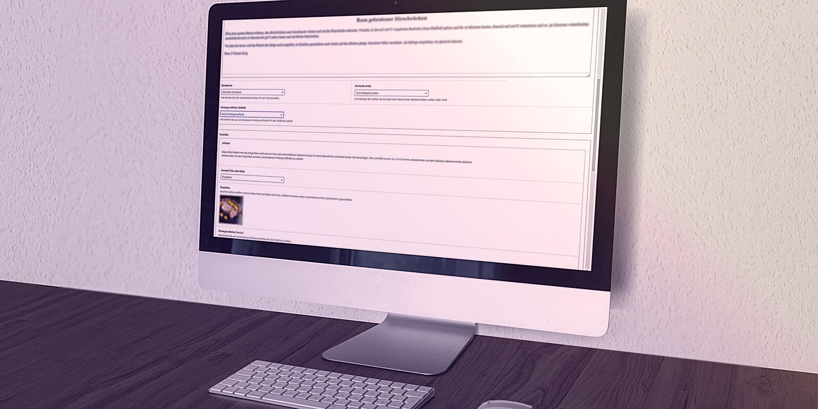 Benutzerfreundliches Backend – Mockup Bildschirm